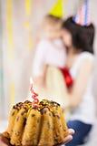 Erster Geburtstagskuchen Stockbilder