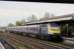 Erster Great Western Hochgeschwindigkeitszug in Oxford Lizenzfreie Stockfotos