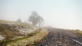 Erster Herbstschnee auf Gebirgsnebelhafter Straße Lizenzfreie Stockfotos