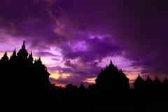 Erster Morgen im Jahre 2016 von Plaosan-Tempel Lizenzfreie Stockfotografie