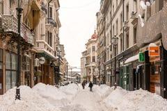 Erster Schnee über im Stadtzentrum gelegenem Bukarest Lizenzfreie Stockfotos