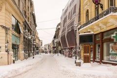 Erster Schnee über im Stadtzentrum gelegenem Bukarest Lizenzfreie Stockfotografie