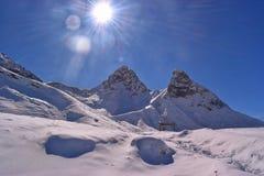 Erster Schnee in Allgäu-Bergen Stockbild