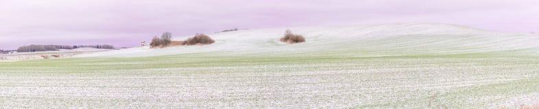 Erster Schnee auf Erntefeldern im Tageslicht Lizenzfreies Stockbild