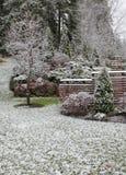 Erster Schnee im Garten Stockfotografie
