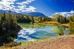 Erster See, Tal der 5 Seen, Jasper National Park, Alberta Lizenzfreies Stockfoto