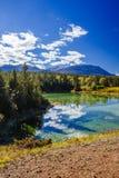 Erster See, Tal der 5 Seen, Jasper National Park, Alberta Stockbilder