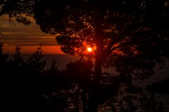 Erster Sonnenuntergang im Jahre 2017 Lizenzfreies Stockbild