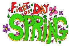 Erster Tag der Frühlings-Beschriftung stock abbildung