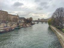 Erster Tag Fluss Saine Paris von Jahr 2016 Lizenzfreie Stockfotos