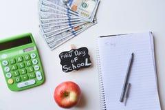 Erster Tag von Schulausgaben Stockfotografie