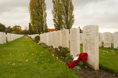 Erster Weltkrieg des Tyne-Feldbettkirchhofs Flandern Belgien Stockbild