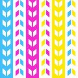 Erstes blaues rosa gelbes horizontales nahtloses Muster Dpara Stockbild