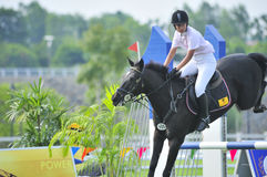 Erstes Cup Equestrian Show Jumping Stockfotos