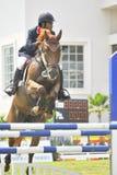 Erstes Cup Equestrian Show Jumping Lizenzfreie Stockfotos