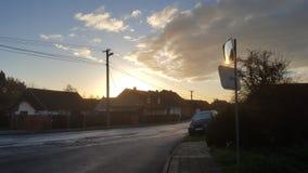 Erstes der meiste kalte Morgensonnenaufgang Stockfotos