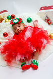 Erstes photoshoot das Weihnachten des Babys Lizenzfreie Stockfotos
