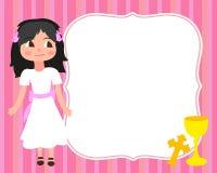 Erstes weißes Kleid des kleinen Mädchens der heilige Kommunions-Kartenschablone, Einladung, Schale, Kreuz, Vektor, Raum für Text, Stockbilder