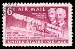 Erstflug USA-Briefmarke-Wright Brotherss Stockbild