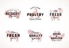 Erstklassige Qualitäts-Retro- Vieh-und Geflügel-Vektor Logo Templates Collection Hand gezeichnete Weinlese-Haustiere und Vögel lizenzfreie abbildung
