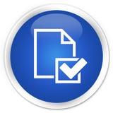 Erstklassiger blauer runder Knopf der Checklistenikone Lizenzfreie Stockfotos