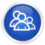 Erstklassiger blauer runder Knopf der Gruppenikone Lizenzfreie Stockfotografie