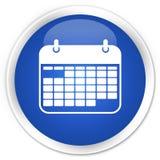 Erstklassiger blauer runder Knopf der Kalenderikone Stockfotos