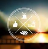 Erstklassiger Kaffeeaufkleber über defocus Hintergrund lizenzfreie abbildung