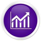 Erstklassiger purpurroter runder Knopf der Statistikikone Stockfotografie