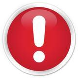 Erstklassiger roter runder Knopf der Ausrufezeichenikone Lizenzfreie Stockfotos