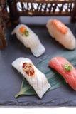 Erstklassiger Sushi-Satz umfassen Engawa, Hamachi, Hotate, Toro, Fettleber, Lachse, Seeigel und Tai Stockfotos