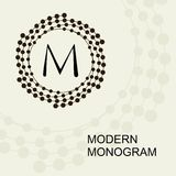 Erstklassiges modernes Monogramm, Emblem, Logo mit einer Begriffskranzspirale Stockbilder