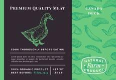 Erstklassiges Qualitäts-Fleisch-abstraktes Vektor-Geflügel-Verpackungsgestaltung oder Aufkleber Moderne Typografie und Hand gezei stock abbildung