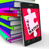Erstklassiges Smartphone zeigt internet number eins oder Verkaufsschlager Stockbilder