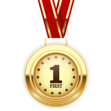 Erstplatz- Medaille des Siegers Gold Stockfotos