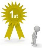 Erstplatz- Wiedergabe Rosette Represents Progress Championship And-Erfolgs-3d Lizenzfreie Stockfotografie