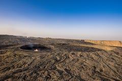 Erta强麦酒的破火山口 库存照片