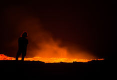 Erta Ale active volcano at night Stock Photography