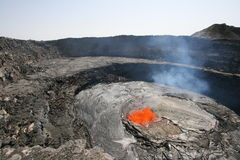 Erta Ale Volcano , active suth crater. Lava Bubble, cause by degassing  at the surface of the lava lake in the ethiopian Erta Ale volcano Royalty Free Stock Photos