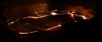 Erta Ale volcano crater, melting lava, Danakil depression, Ethiopia Royalty Free Stock Photo