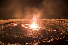 Erta Ale volcano in Danakil Depression desert in Ethiopia Royalty Free Stock Photography