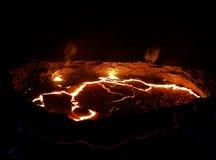Erta Ale wulkanu krater, roztapiająca lawa, Danakil depresja, Etiopia zdjęcie stock