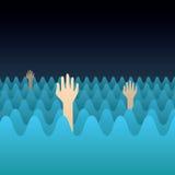 Ertrinken der Hände Stockbild