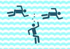 Ertrinken der Mannikone Illustrationszeichensymbol Lizenzfreies Stockbild
