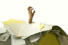 Ertrinken in der Schreibarbeit Lizenzfreies Stockbild