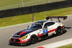 12 erts Hankook Mugello 18 Maart 2017: #1 hofor-rent, Mercedes AMG GT3 Royalty-vrije Stock Foto's