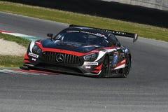 12 erts Hankook Mugello 18 Maart 2017: #17 IDEC-SPORT die, Mercedes AMG GT3 RENNEN Royalty-vrije Stock Afbeelding
