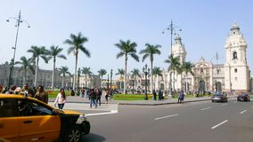 Main square and Huallaga street view Lima Peru