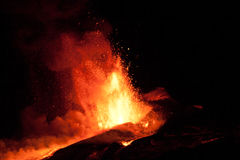 erupção 2011 do vulcão de Etna Imagens de Stock Royalty Free