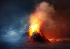 Erupção do vulcão ilustração do vetor